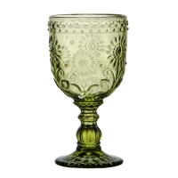 Wholesale Hot Sale Green Color Glassware Vintage Pattern Embossed High Clear Glass Goblets from china suppliers