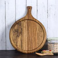 China Hot selling Japanese kitchen wood cutting board acacia round pizza tray peel on sale