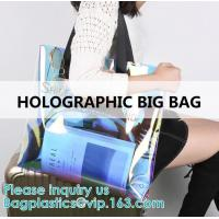 China Neon Rainbow Hologram PVC Tote Bag custom holographic handbag PVC handle beach bag,Cosmetic Makeup Travel Pouch,Zipper on sale