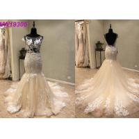 Wholesale Custom Made Champange Mermaid Style Wedding Dress With Boat Neckline Tulle from china suppliers