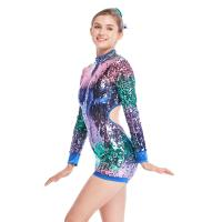 Wholesale MiDee Full Sequins Ombre Neon Color Sequined Long Sleeve Dance Biketard Jazz Costume Jumpsuits from china suppliers