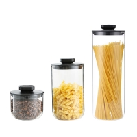 Wholesale Kitchen Decorative 500ml 1000ml 1800ml Food Storage Container Glass Jar Borosilicate Glass Bean Jars with lids from china suppliers