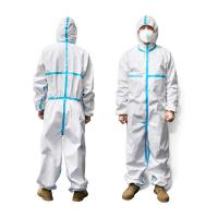 Wholesale Elastic Wrist Medical Coverall Suit , Wateproof Disposable Protective Coverall from china suppliers