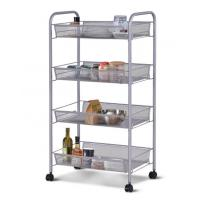 China H297 Full Metal 4 Wheel Trolley Cart For Kitchen And Bathroom Four Tier Storage on sale