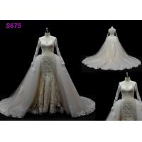 Wholesale Long Sleeves lace application detached train mermaid wedding dresses from china suppliers