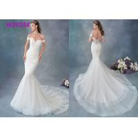 Wholesale Embroidered Lace / Tulle / English Net Mermaid Style Wedding Dress Detachable Cap Sleeve from china suppliers