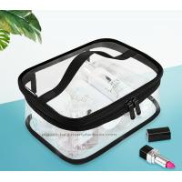 Wholesale Double Pullers Portable Clear PVC Makeup Bag Zippered Waterproof Cosmetic Bag Travel Storage from china suppliers