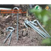 Wholesale garden pegs, garden pegs, gardening pegs, ground pins, Flat point garden staples, U shaped turf nails, turf pins,Horticu from china suppliers