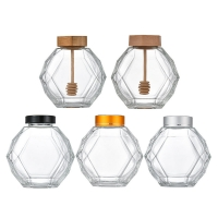 Wholesale 380ml Geometric Hexagon Glass Honey Jars With Metal Lid from china suppliers