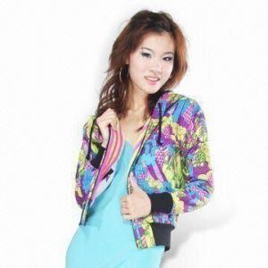 Wholesale Women's Yardage Printed Fleece Hoodie Jacket from china suppliers