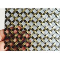 China Burnished Brass Flat Crimped Wire Grille, SS304 Flat Woven Ceiling Drapery on sale