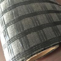 Wholesale Black Fiberglass Sewed Plastic Geogrid Coating Asphalt Geogrid For Road Construction from china suppliers
