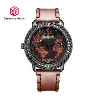 Buy cheap Genuine Mens Brown Leather Watch , Mens Leather Strap Watches Round Case from wholesalers