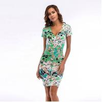 Buy cheap Fashion Slim Floral Ladies Casual Summer Dresses / Deep V Neck Print Bodycon from wholesalers