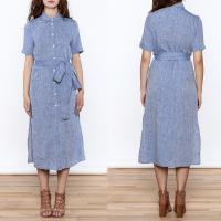 Buy cheap Women Casual Button Down Solid Midi Linen Dresses ladies from wholesalers