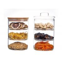 Wholesale Kitchen Wide Mouth Storage Jars With Bamboo Lid High Borosilicate from china suppliers