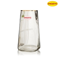 Wholesale Hand Blown Square Clear Glass Vase With Gold Tracing from china suppliers