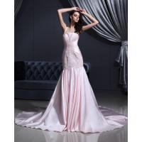 Wholesale Pink Satin dropped waist Halter Neck Wedding Dresses with chapel train from china suppliers