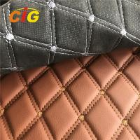 Wholesale Car Seat Car Floor Embroidery PVC leather with Black Foam and Black Non-woven Backing from china suppliers