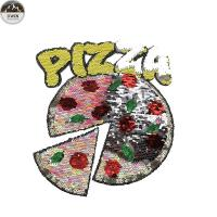 Buy cheap Handmade Sequin Embroidery Patches For Garments , Clothes Pizza Style from wholesalers