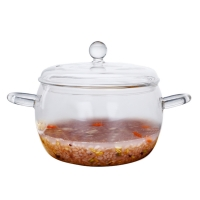 Wholesale Soup Round Double Ears 1800ml Borosilicate Glass Pot from china suppliers
