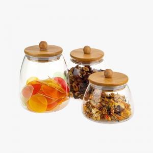 Wholesale Stripe Glass Storage Jars Tea Canister borosilicate kitchen storage snacks glass jar from china suppliers