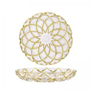 Wholesale Home Golden Grid Grain Transparent Glass Fruit Bowl Handmade from china suppliers
