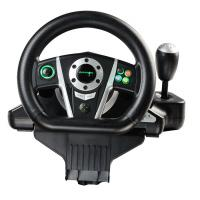 China Black / White Vibration Driving Game Steering Wheel For PC / X-Input / P2 / P3 on sale
