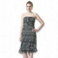 Wholesale Heart Print Silk Mesh Dress from china suppliers