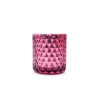 Wholesale Pink Prismatic Geometric Decorative Glass Candlestick Holder Customized Label from china suppliers