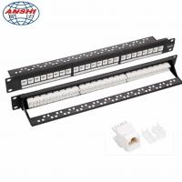 Wholesale CAN OEM 1U 19'' Inch 24 Port CAT6 UTP Rack Mount Patch Panel with RJ45 Keystone Jack from china suppliers
