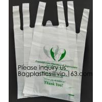 Wholesale Supermarket Bio-Degradable Compostable T Shirt Bags Thank You Tote Perfect For Business. Best Bulk, Heavy Duty from china suppliers