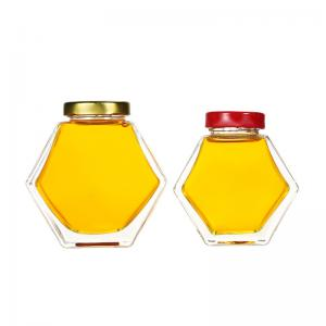 Wholesale Custom 230ml 350ml hexagon honey glass jar with Metal Lids and labels from china suppliers
