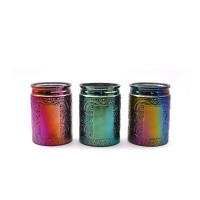 Wholesale Hotel Decor Carved Glass Cylinder Candle Holders Electroplated Colored from china suppliers