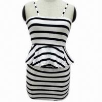 Wholesale Fashion Ladies' Black and White Stripes Elastic Dress from china suppliers