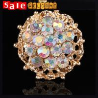China Luxury Crystal Ball Golden Brooch,Shawl Scarves Scarf Buckle Clip Flower Golden Brooch Pin on sale