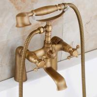 Wholesale Antique Brass Double Handles Bridge Bathroom Bath Tap Set TFA348 from china suppliers