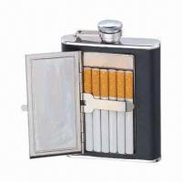 China SS Hip Flask with Cigarette Holder, 6oz Capacity and Food Approval Grade, BPA-free on sale