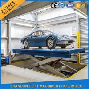 China 2.5T 3.3m Garage Car Lifting Machine Scissor Car Lift with Anti skid Checkered Plate on sale