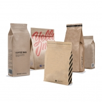 China high quality recycled custom Logo Printed ziplock brown kraft paper bags lunch bag for food on sale