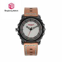 Buy cheap Unique Sport Waterproof Stainless Steel Back Cover Mens Leather Strap Wrist from wholesalers