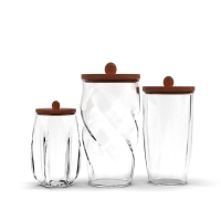 Wholesale Home Use 500ml 800ml 1L Glass Kitchen Canisters Bamboo Lids Clear Glass Food Storage Jar from china suppliers