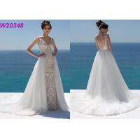 Wholesale Lace And Sequinned V Neckline Mermaid Style Wedding Dress Detachable Over Skirt from china suppliers