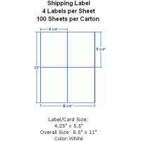 """Wholesale Shipping Label 4-1/4""""x5-1/2"""" 4 Labels per Sheet 100 Sheets per Carton from china suppliers"""