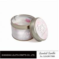 Small Soy Tealight Candles , Tin Can Candles Raspberry / Amber Fragrance
