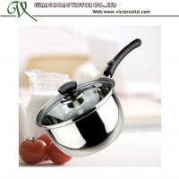 Wholesale Stainless steel milk pot with glass lid 16cm 18cm bakelite handle Cheap fast delivery from china suppliers