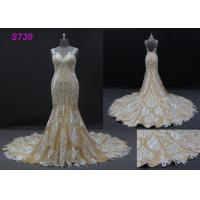 Wholesale Champange color sleeveless sheath mermaid wedding dress bridal gown from china suppliers