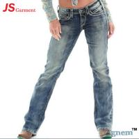 Wholesale Low Waist Washed Printed Jeans For Womens Elastic Straight Dark Blue Jeans Womens from china suppliers