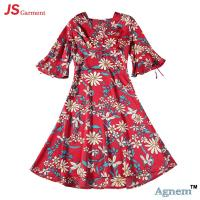 Wholesale 89D18026 New 15Dollor Summer Fashion V-Neck Half Sleeve Floral Print Women High Waist Beach Dress from china suppliers