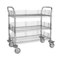 China 3 Tier Electrostatic Discharge Chrome Wire Shelving Trolley For ESD Industry on sale